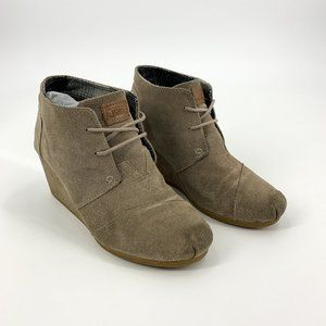 Toms Grey Suede Wedge Booties